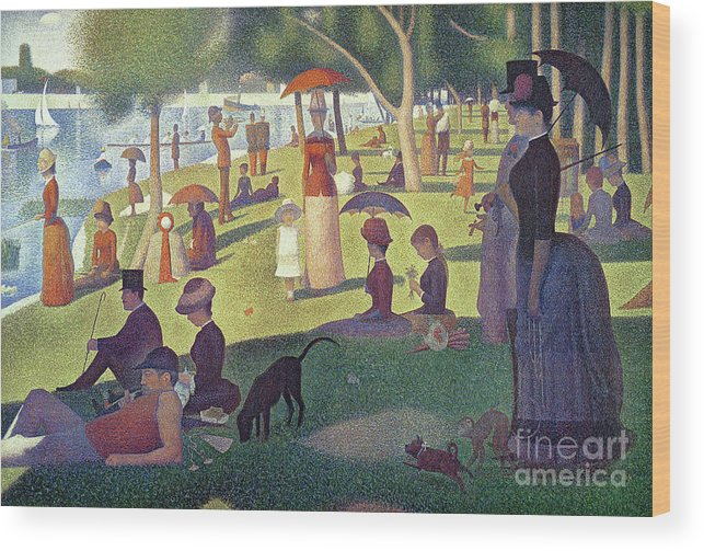 Sunday Afternoon On The Island Of La Grande Jatte Wood Print featuring the painting Sunday Afternoon On The Island Of La Grande Jatte by Georges Pierre Seurat