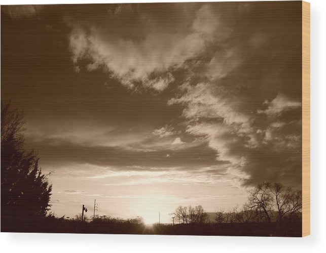 Sunset Wood Print featuring the photograph Sunset And Clouds by Rob Hans