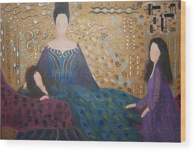 Figures Wood Print featuring the painting Vanity by Sheryl Sutherland