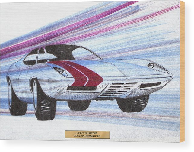 Car Concepts Wood Print featuring the drawing 1972 Barracuda Vintage Styling Design Concept Sketch by John Samsen