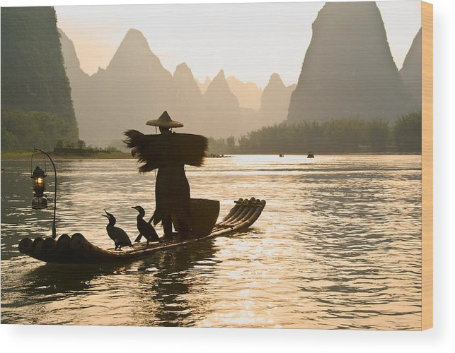 Asia Wood Print featuring the photograph Cormorant Fisherman On The Li River by Michele Burgess