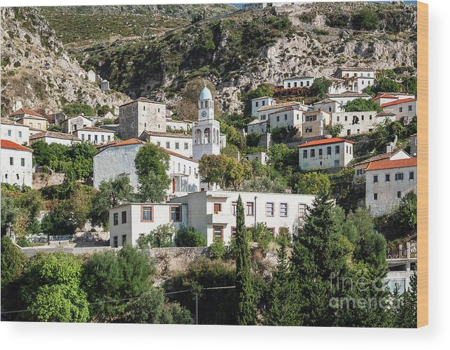 Adriatic Wood Print featuring the photograph Dhermi Traditional Village View In Southern Albania by Jacek Malipan