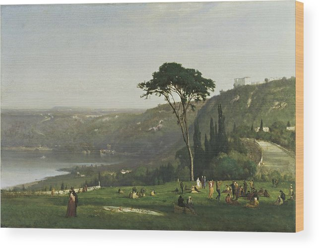 Lake Albano By George Inness Wood Print featuring the painting Lake Albano by George Inness