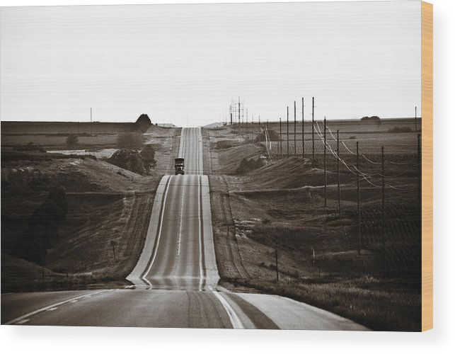 Nebraska Wood Print featuring the photograph A Country Mile 1 by Marilyn Hunt