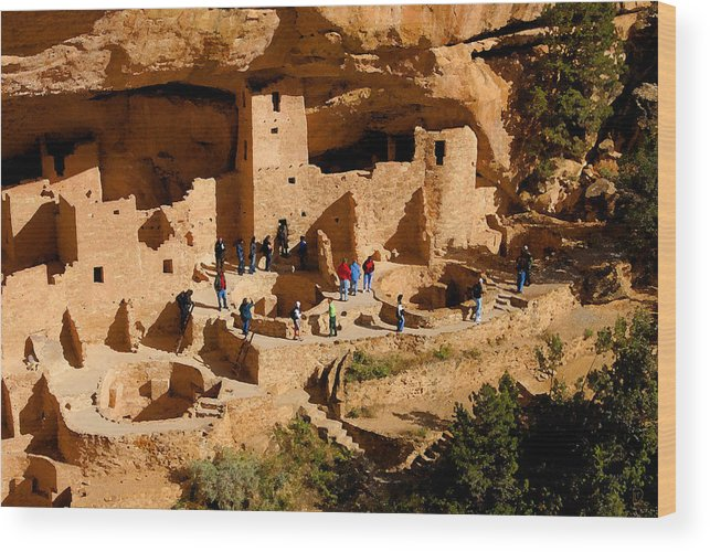 Art Wood Print featuring the painting A Day At Mesa Verde by David Lee Thompson