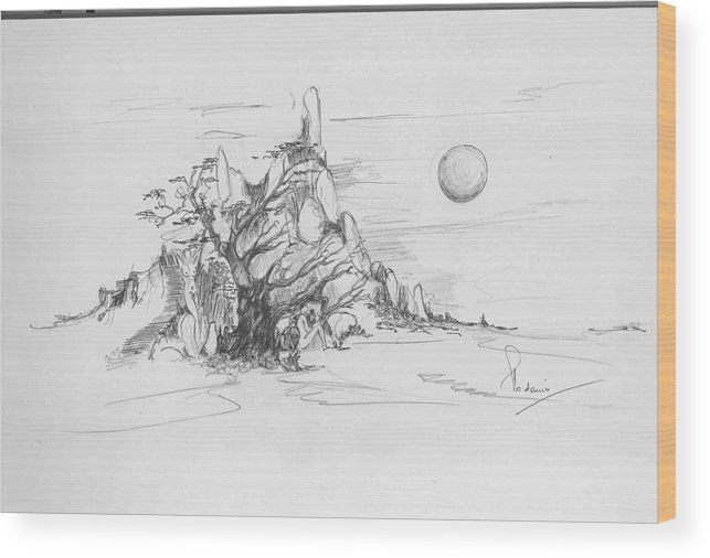 Nature Wood Print featuring the drawing A Tree Rocks And The Sun by Padamvir Singh