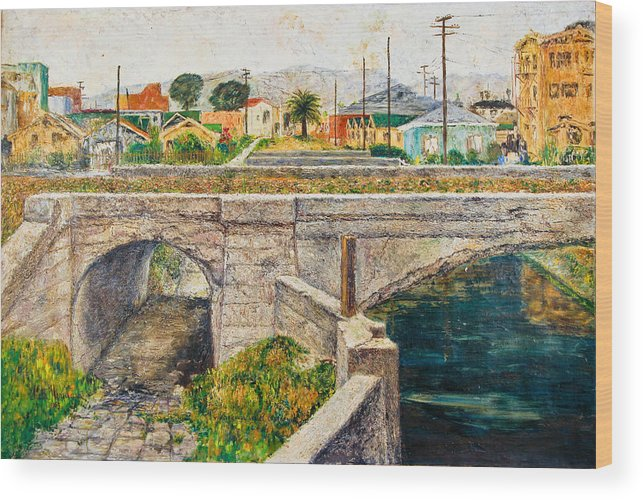 City Wood Print featuring the painting A Walk Along The Canal By Victor Herman by Joni Herman