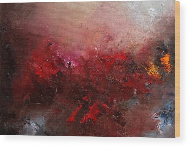 Abstract Wood Print featuring the painting Abstract 056 by Pol Ledent