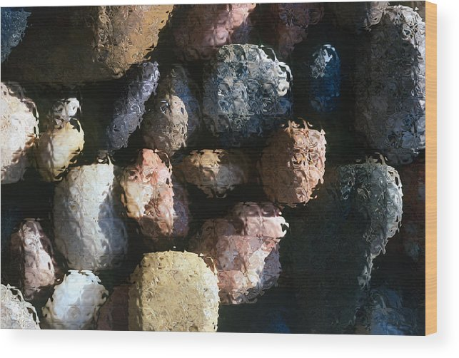 Rocks Wood Print featuring the photograph Abstract Of River Rocks 2 by Steve Ohlsen