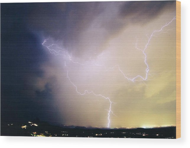 Lightning Wood Print featuring the photograph Air Strike 1 by Cathy Franklin