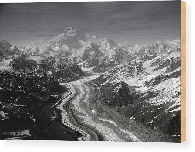 Glacier Wood Print featuring the photograph Alaska Range And Denali by Alasdair Turner