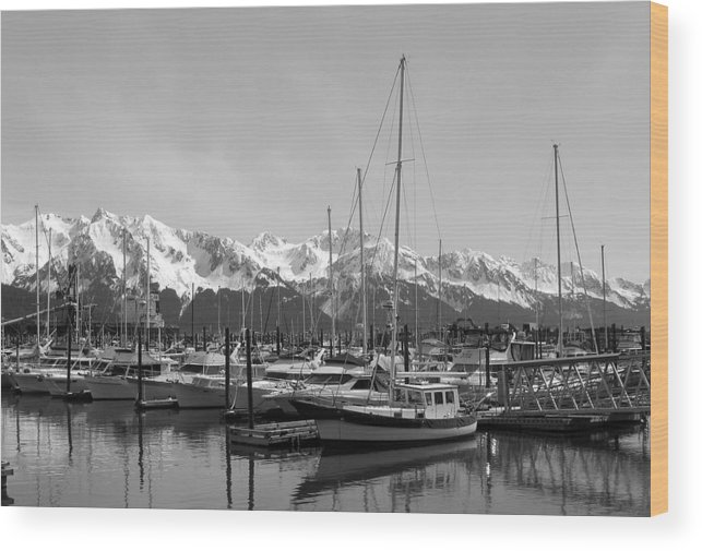 Black And White Wood Print featuring the photograph Alaskan Harbor by Ty Nichols