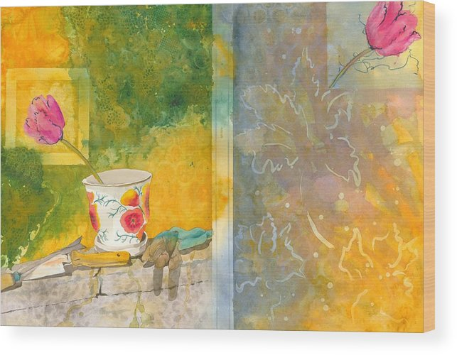 Garden Wood Print featuring the painting Along The Garden Wall by Jean Blackmer