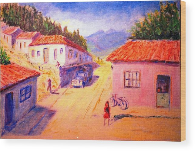 Oil Wood Print featuring the painting Andean Village by Horacio Prada