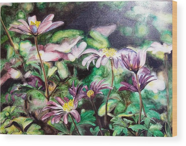 Floral Painting Wood Print featuring the painting Anemones Japonaises by Muriel Dolemieux