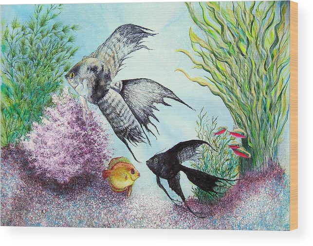 Fish Water Wood Print featuring the print Angel Fish by JoLyn Holladay
