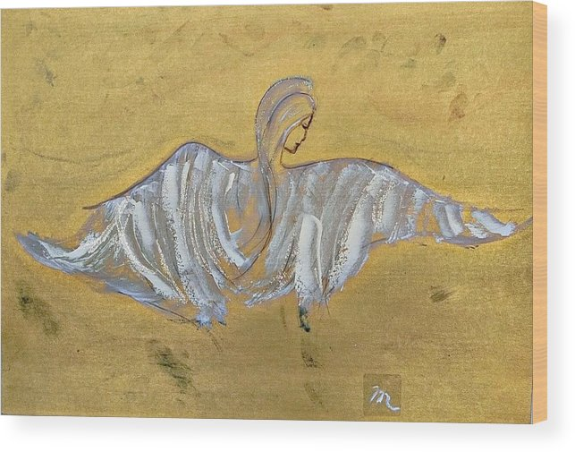 Angel Wood Print featuring the painting Angel Wings by Michela Akers