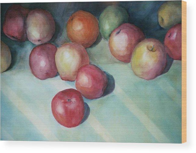 Orange Wood Print featuring the painting Apples And Orange by Jun Jamosmos