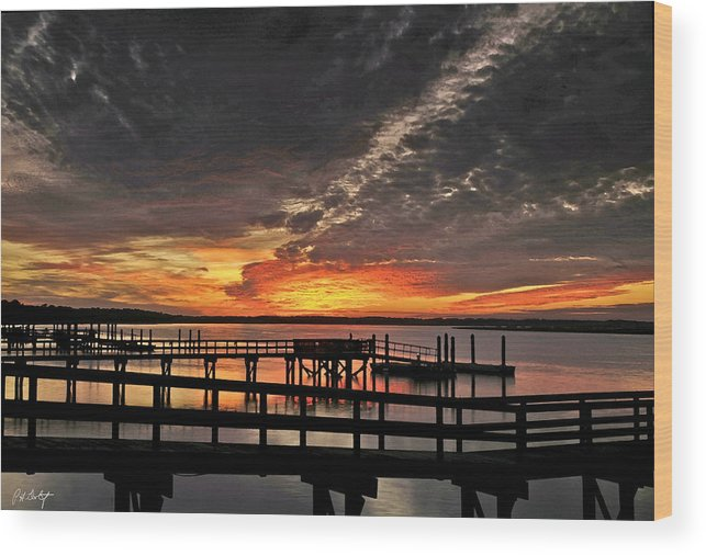 Sunset Wood Print featuring the photograph Artistic Black Sunset by Phill Doherty