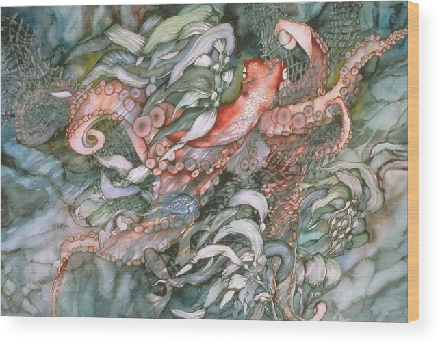 Octopus Wood Print featuring the painting At Play by Liduine Bekman