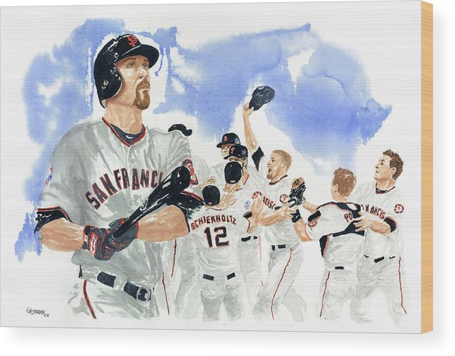 Baseball Wood Print featuring the painting Aubrey Huff Study 1 by George Brooks