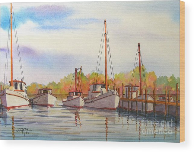 Autumn Wood Print featuring the painting Autumn Harbor by Hugh Harris