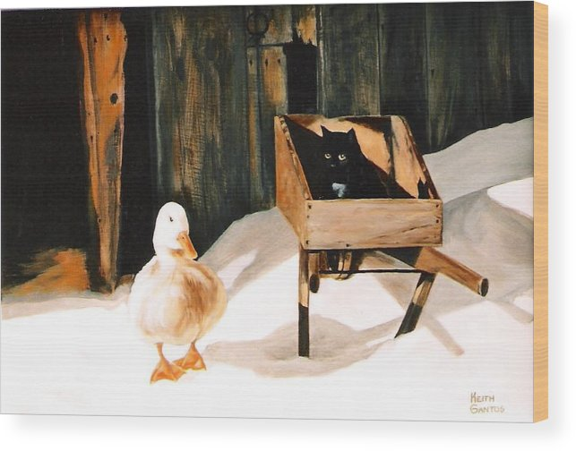 Ducks Wood Print featuring the painting Barn Fellows by Keith Gantos