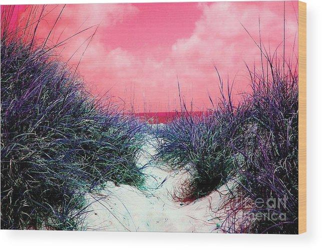 Beach Wood Print featuring the photograph Beach Worx by Meghann Brunney