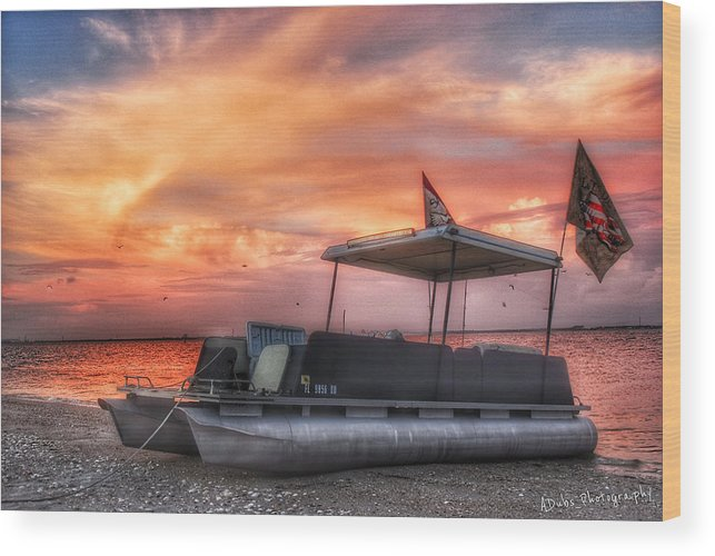 Boat Wood Print featuring the photograph Beer Can Island Sunset by Allen Williamson