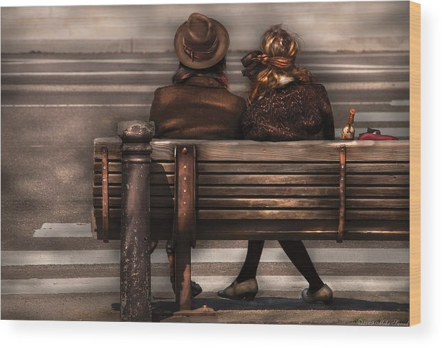Steampunk Wood Print featuring the photograph Bench - A Couple Out Of Time by Mike Savad
