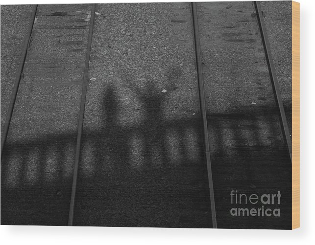 Shadow Wood Print featuring the photograph Beware Of The Shadows Black And White by Karol Livote