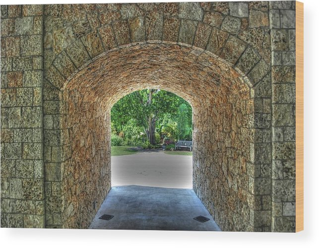 Tunnel Wood Print featuring the photograph Beyond The Tunnel by Roger And Michele Hodgson