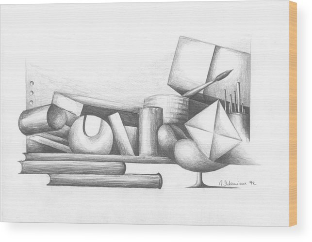 Still Life Wood Print featuring the drawing Bibliotheque by Muriel Dolemieux