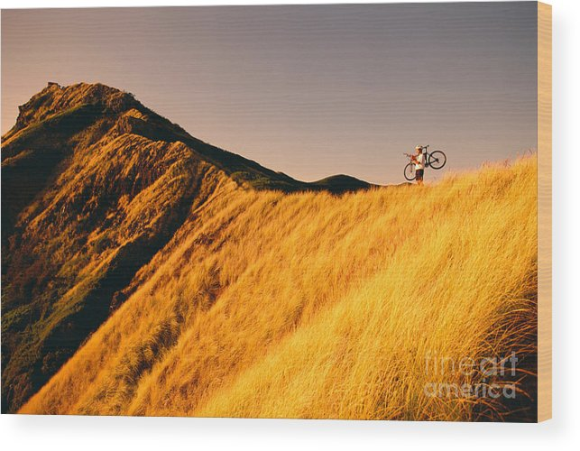 Athletic Sports Art Wood Print featuring the photograph Biker On The Ridge by Dana Edmunds - Printscapes