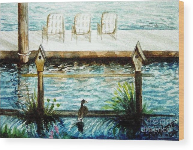 Birdhouse Wood Print featuring the painting Birdhouse Haven by Elizabeth Robinette Tyndall
