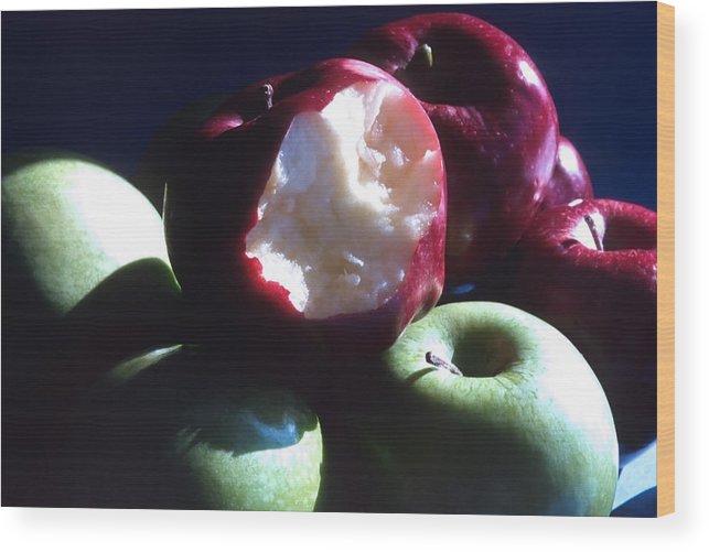 Apples; Red Apples; Green Apples; Juicy; Healthful; Healthy; Crisp; Ripe; Fruit; Eat Wood Print featuring the photograph Bitten Apple Still Life by Steve Ohlsen