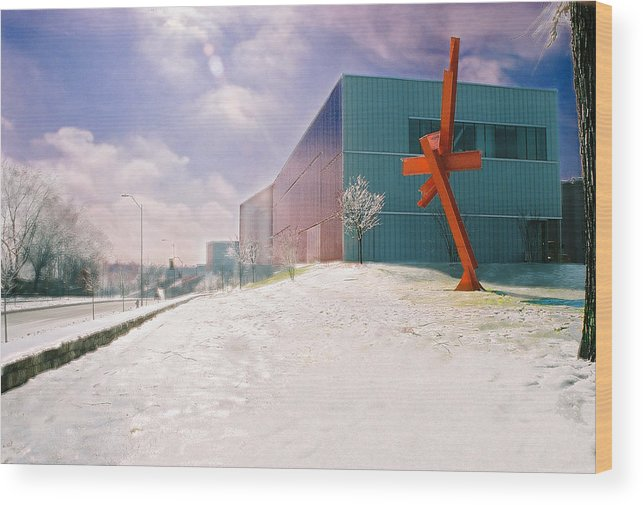 Landscape Wood Print featuring the photograph Bloch Building At The Nelson Atkins Museum by Steve Karol