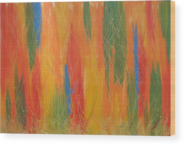 Abstract Painting Wood Print featuring the painting Blue Bang by Jolene Courtemanche