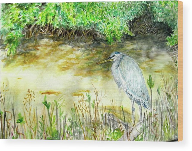 Bird Wood Print featuring the painting Blue Heron by Judy Riggenbach