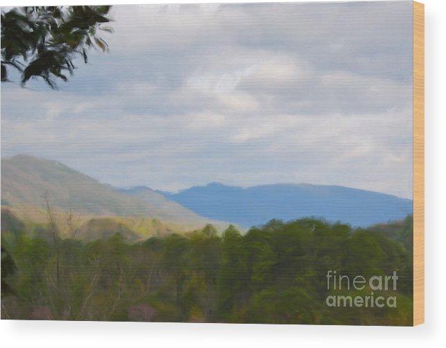 Blue Ridge Mountain Wood Print featuring the painting Blue Ridge Mountain by Jan Daniels