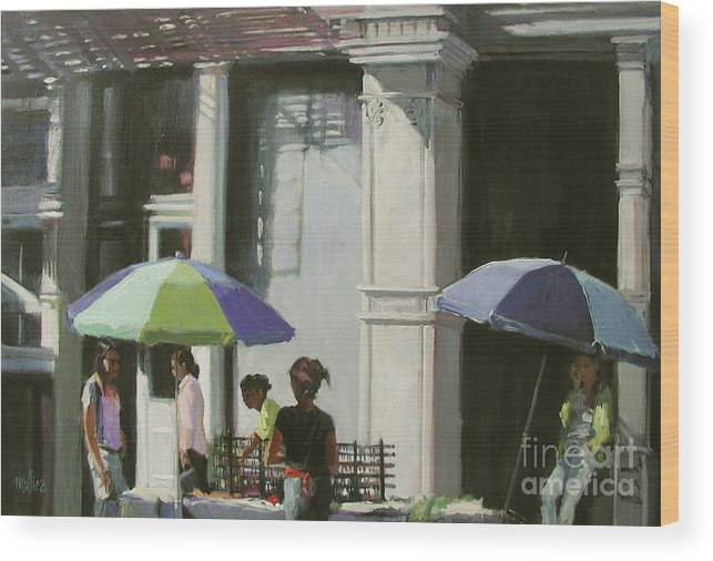 City Wood Print featuring the painting Blue Umbrellas by Patti Mollica