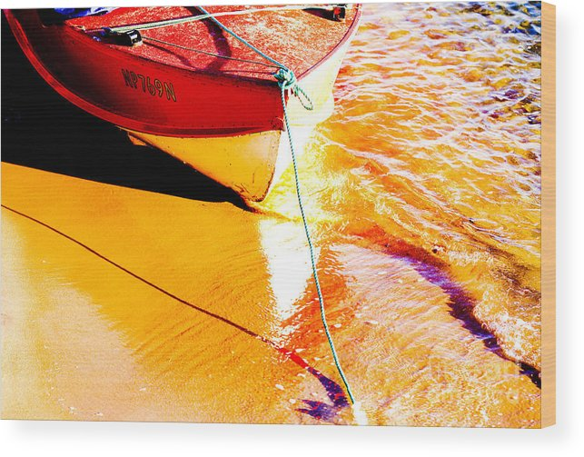Boat Abstract Yellow Water Orange Wood Print featuring the photograph Boat Abstract by Sheila Smart Fine Art Photography