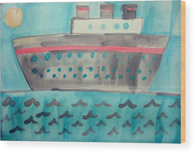 Boat Wood Print featuring the painting Boat by Sean Cusack