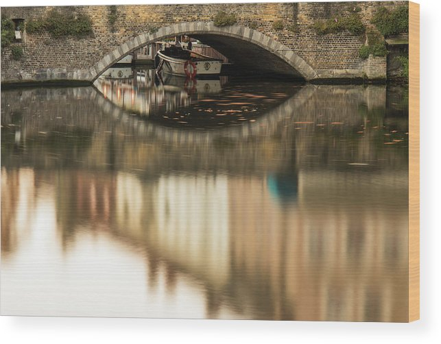 Flanders Wood Print featuring the photograph Boat Waddling On Water Channels Of Bruges, Belgium by Dalibor Hanzal