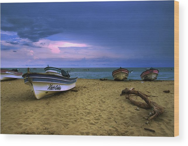 Beach Wood Print featuring the photograph Boats In Pedasi by Iris Greenwell