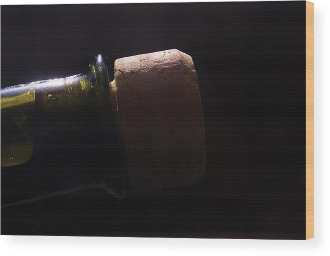 Bottle Wood Print featuring the photograph bottle top and Cork by Steve Somerville