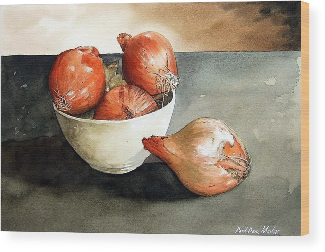 Still Life Wood Print featuring the painting Bowl Of Onions by Paul Dene Marlor