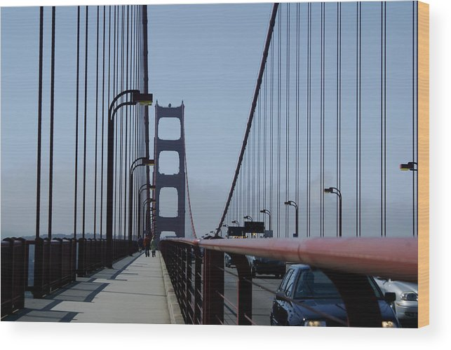 San Francisco Wood Print featuring the photograph Bridge Walk by Sonja Anderson