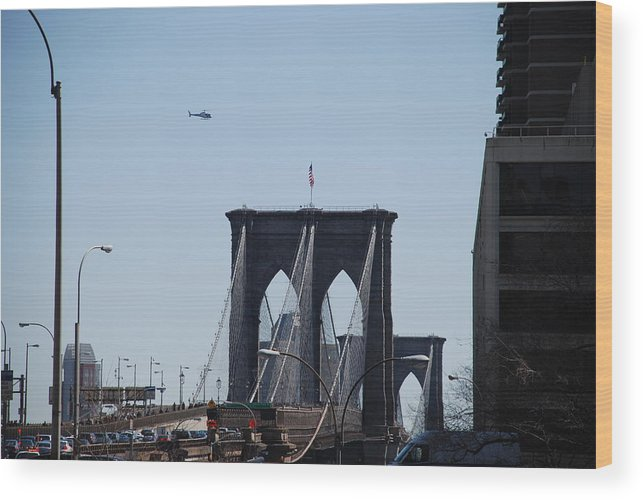 Architecture Wood Print featuring the photograph Brooklyn Bridge by Rob Hans