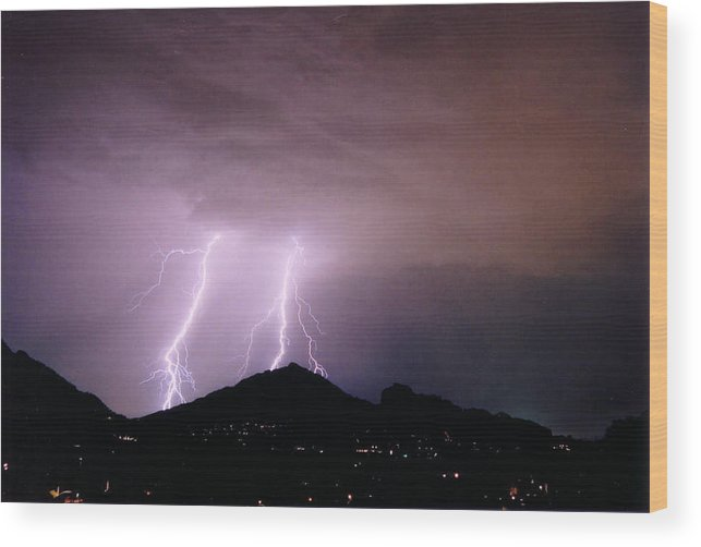 Lightning Wood Print featuring the photograph Camelback Scratch by Cathy Franklin